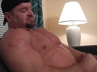 bearded homo hunk jerks off his fat cock