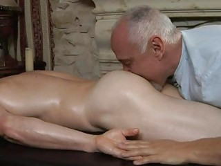 older gay daddy gives young handsome boy a full